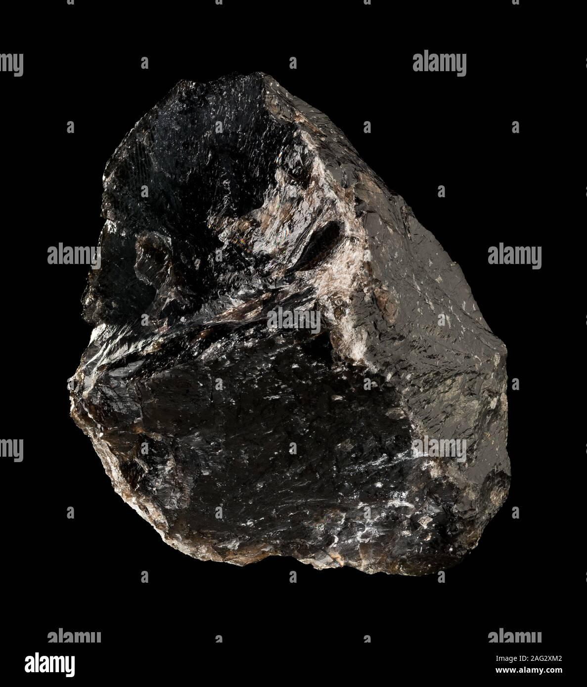 Smokey quartz crystal (SiO2) from Brasil isolated on black background Stock Photo