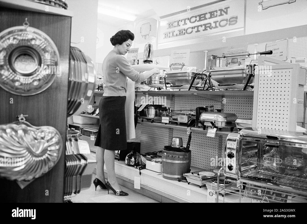 Woman Shopping For Kitchen Electrical Appliances Hect Co Washington D C Usa Photograph By Marion S Trikosko March 1965 Stock Photo Alamy