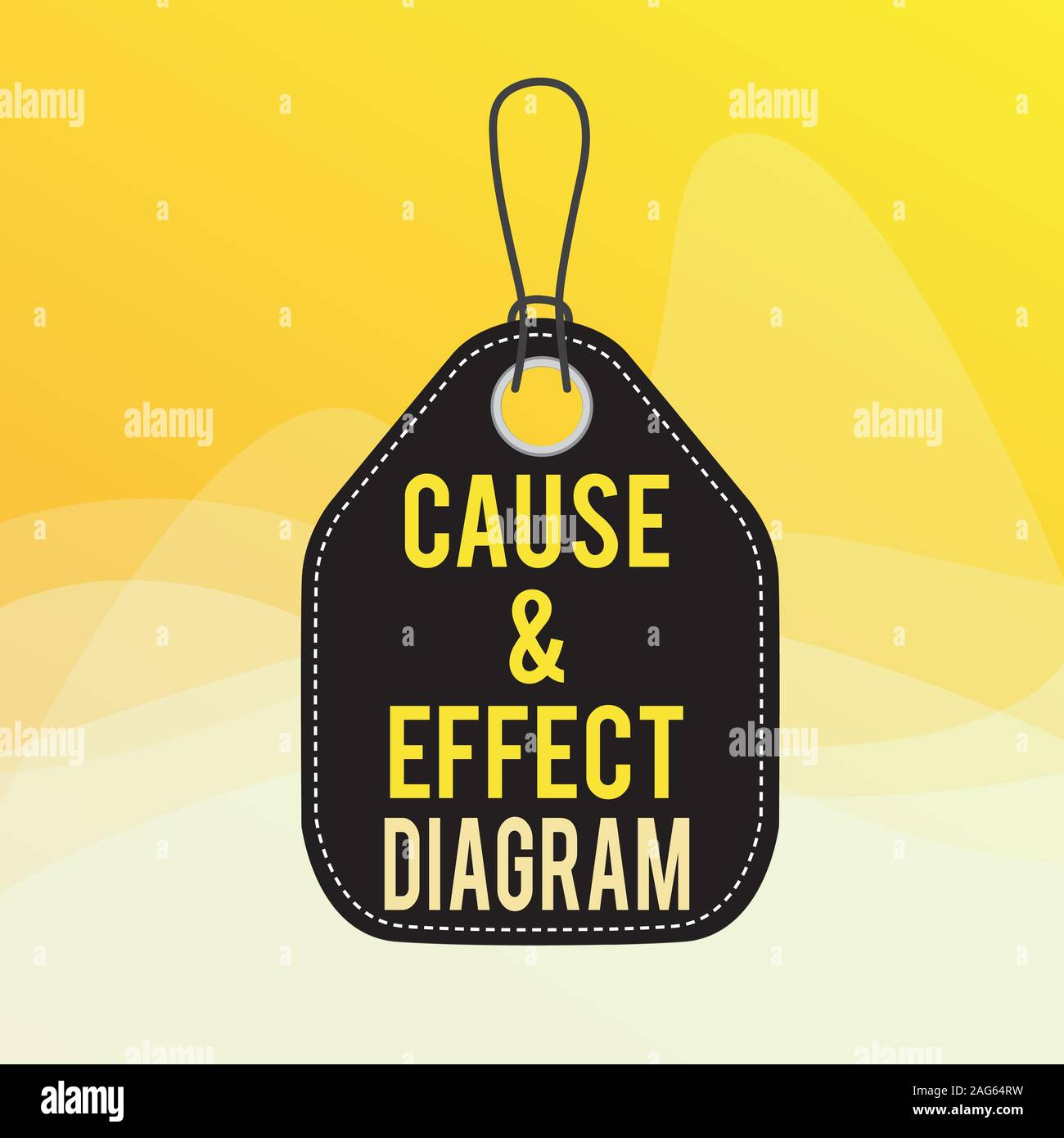 Conceptual hand writing showing Cause and Effect Diagram. Concept meaning Visualization tool to categorize potential causes Empty tag colorful backgro Stock Photo