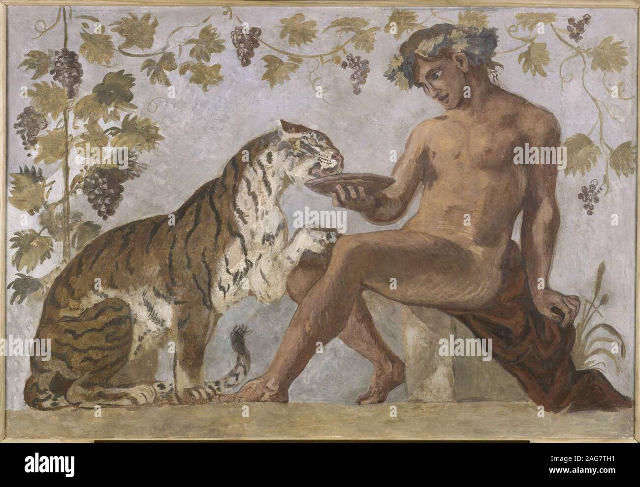 Bacchus with a tiger, 1834. Found in the Collection of Musée National Eugène Delacroix. Stock Photo