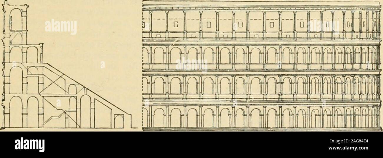 . An encyclopaedia of architecture, historical, theoretical, & practical. New ed., rev., portions rewritten, and with additions by Wyatt Papworth. Vg.. l^ PLAN ur CUI.I8KUU. diminished, is 28 ft., and the heij^ht of their entablature is 737 ft. The frieze and archi-trave are broken vertically in each Interpilaster over three corbels, on which it is supposed,. SECTION AND ELBVATION OF COMSEUai Fig. 129. running through the hack part of the cornice, poles were placed for holding the velarium,which was occasionally stretched over the building to protect the spectators from the sunor rain. The wh Stock Photo