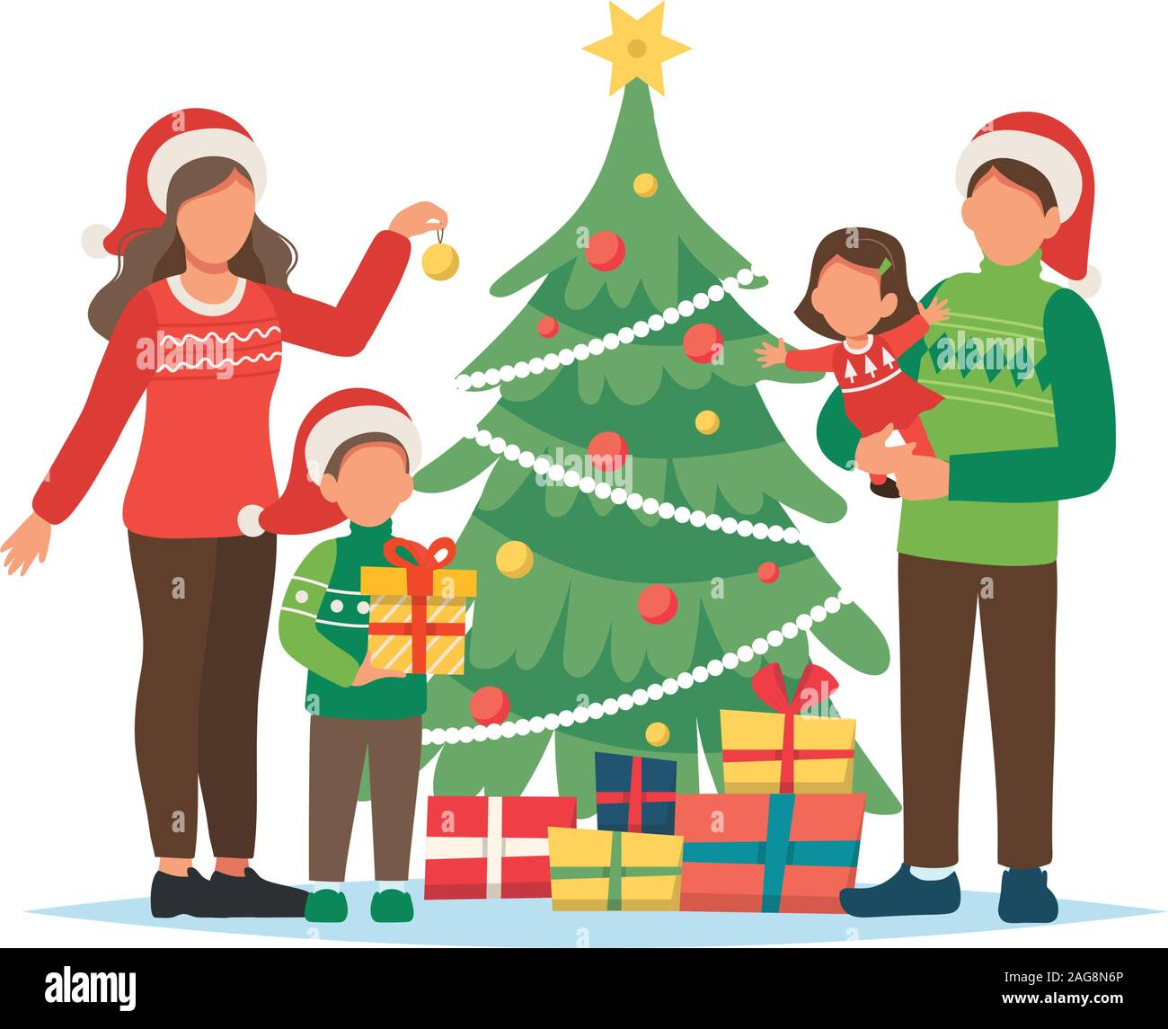 Family Decorating Christmas Tree Cute Vector Illustration In Flat Style Stock Vector Image Art Alamy