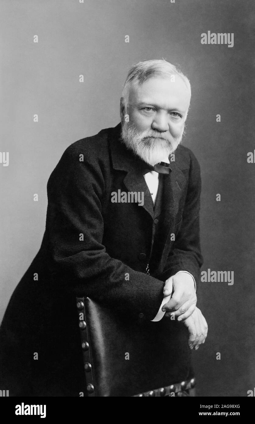 Vintage portrait photo of Scottish-American industrialist and philanthropist Andrew Carnegie (1835 – 1919). Photo circa 1896 by B L H Dabbs of Pittsburgh. Stock Photo