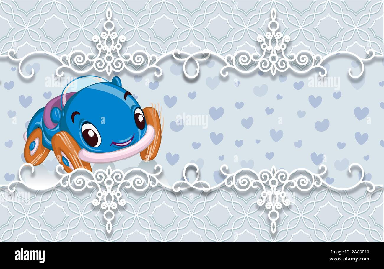 3d wallpaper cute baby background with car birthday cards 2AG9E10