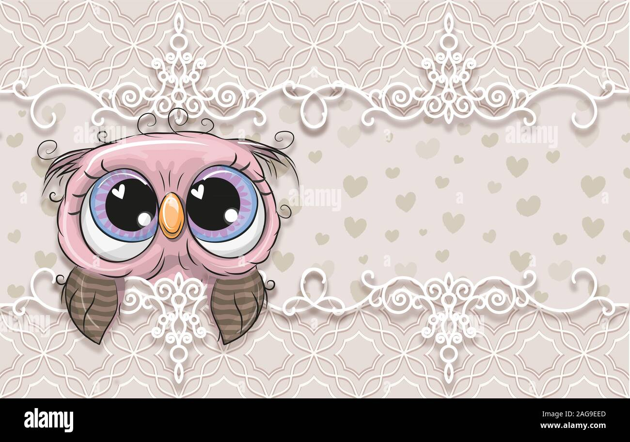 3d Wallpaper Cute Baby Background With Owlet Birthday