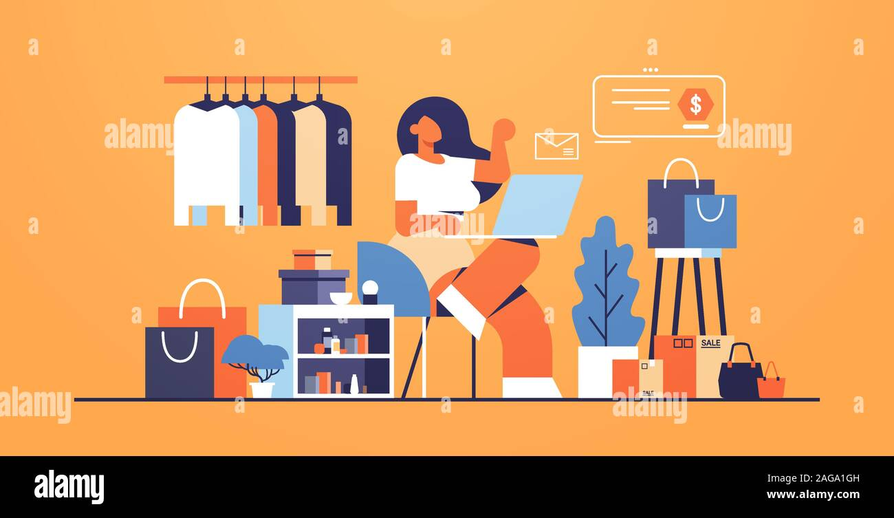 Woman With Laptop Using Computer Application Online Shopping Concept Big Fashion Shop Female Clothes Boutique Interior Flat Full Length Horizontal Vector Illustration Stock Vector Image Art Alamy