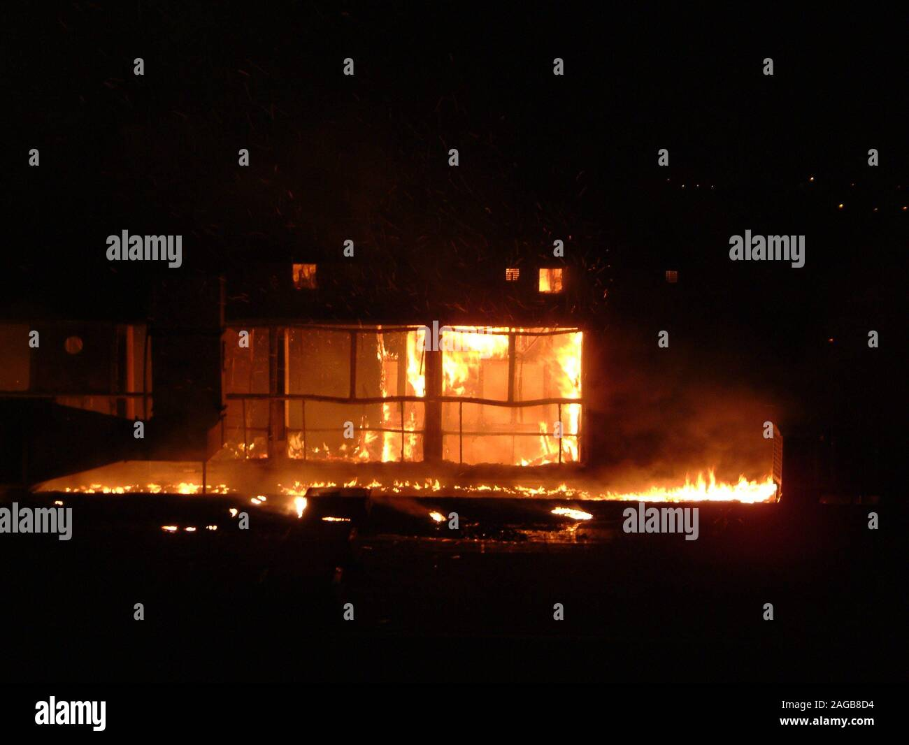 New South Wales bushfires, rural buildings destroyed by fire Stock Photo
