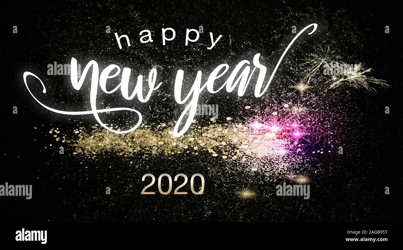 happy new year 2020 high resolution stock photography and images alamy https www alamy com happy new year 2020 postcard or poster theme with sparkling colorful fireworks on black background with festive sign image337080180 html