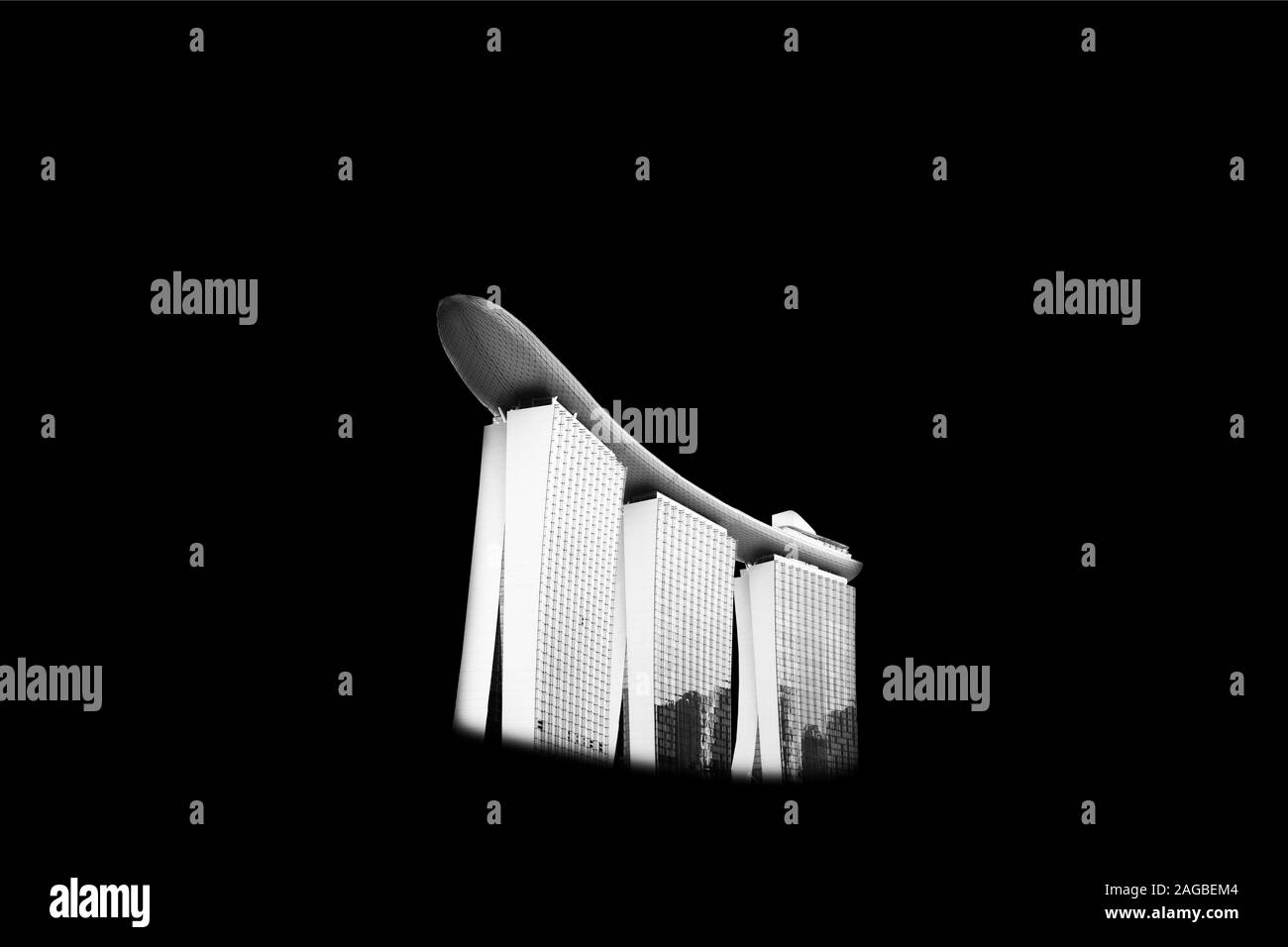 A Greyscale Illustration Of A Modern White Building Complex In Singapore Stock Photo Alamy