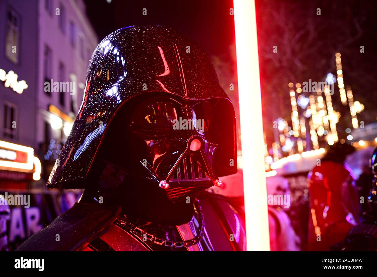 Darth Vader With A Lightsaber At The Star Wars The Rise Of Skywalker Premiere At Cineworld Leicester Square London Stock Photo Alamy