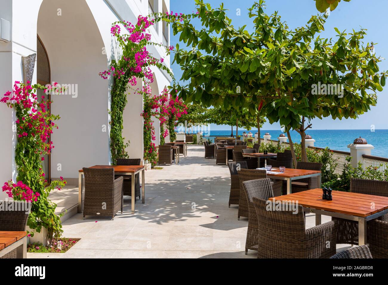 An Outdoor Restaurant With Pink Flower Bushes On The Walls Surrounded By Trees And Sea In Zanzibar Stock Photo Alamy