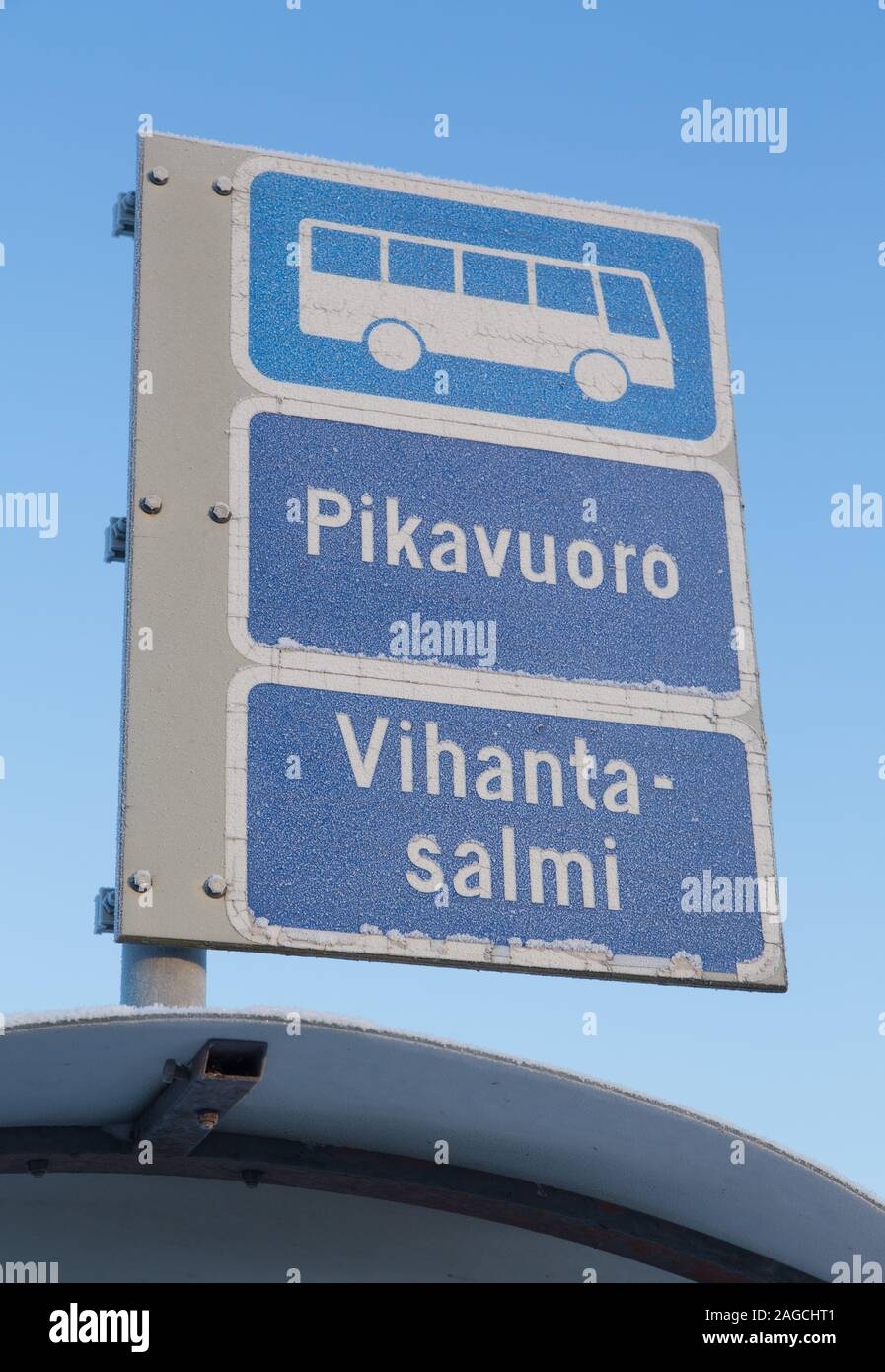 Bus stop sign  in the winter Stock Photo