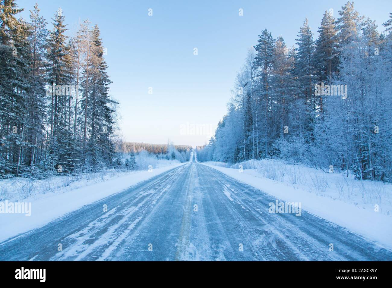 Wintery road in Finland Stock Photo