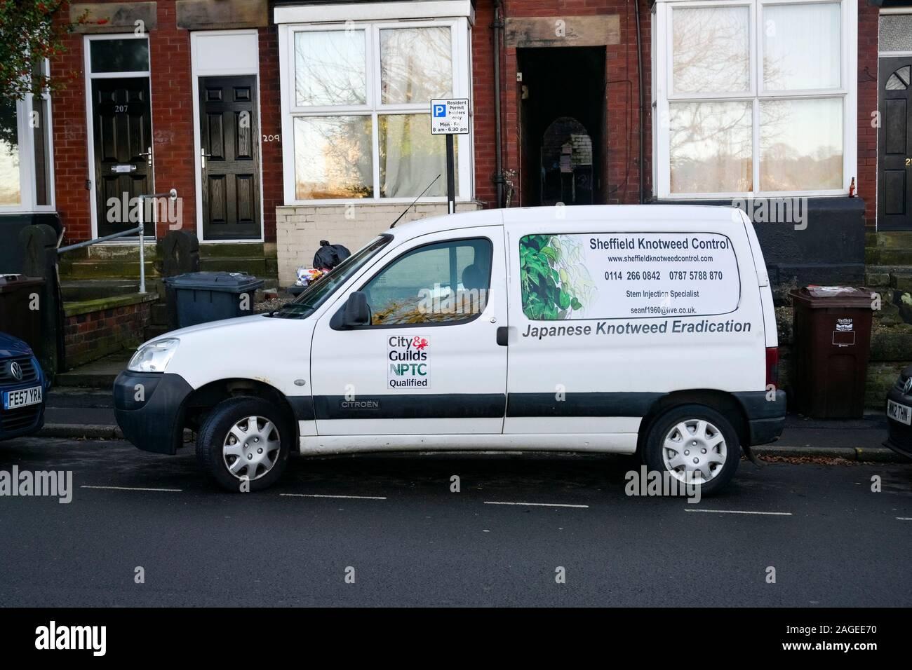 Japanese Knotweed eradication van, Sheffield, Yorkshire, England, UK Stock Photo