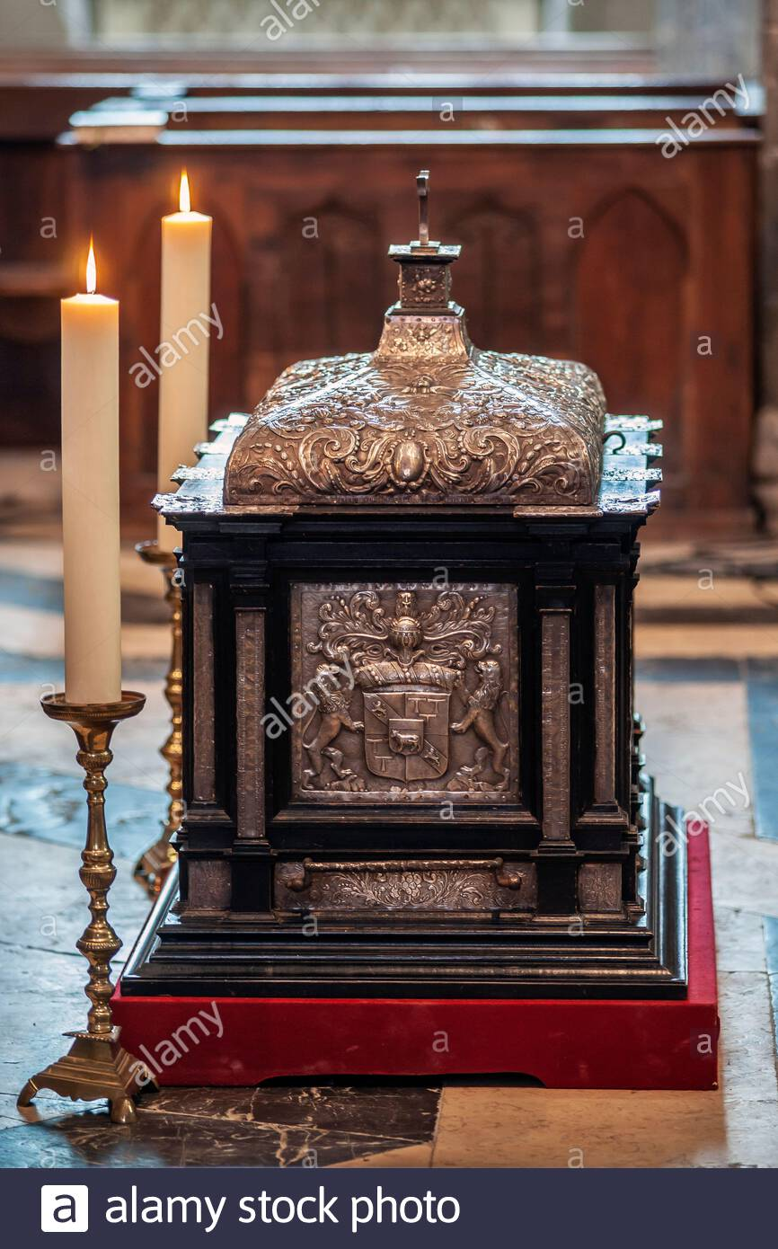 Saint-Antoine-l'Abbaye : reliquary shrine with the relics of Saint Anthony of Egypt, exhibited in the Abbey church for the Ascension Day procession Stock Photo
