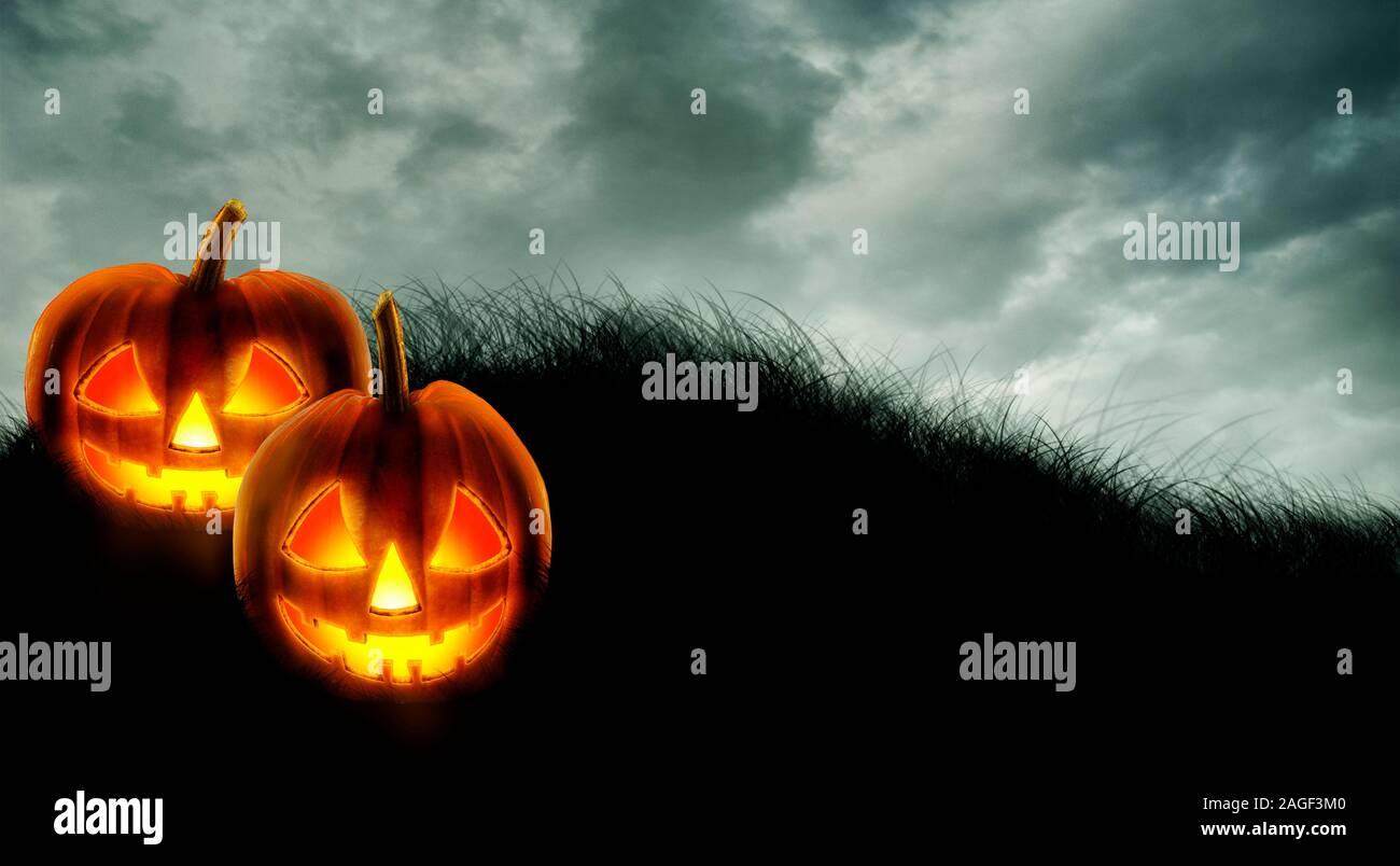Halloween Background Wallpaper With Jack O Lantern Scary Pumpkins On Dark Sky Halloween Party Invitation Design Layout Spooky Halloween Poster Stock Photo Alamy