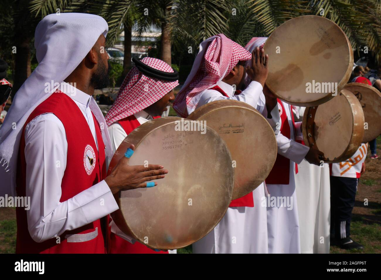 Bahraini musicians playing traditional music on tars (drums) on the opening day of the farmers market, 2019, Budaiya, Kingdom of Bahrain Stock Photo