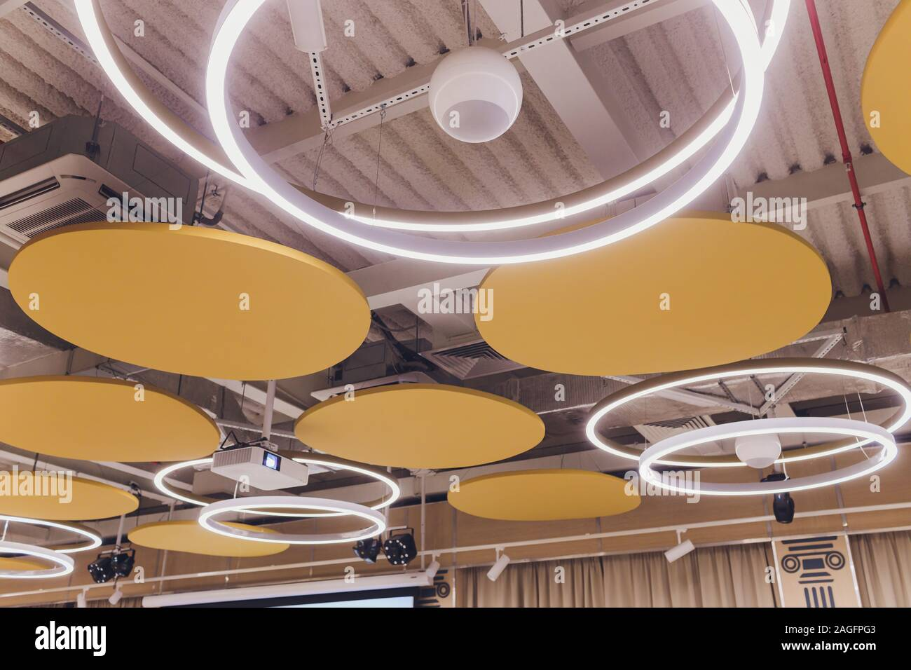 Beautiful ceiling with LED lighting flat round Stock Photo