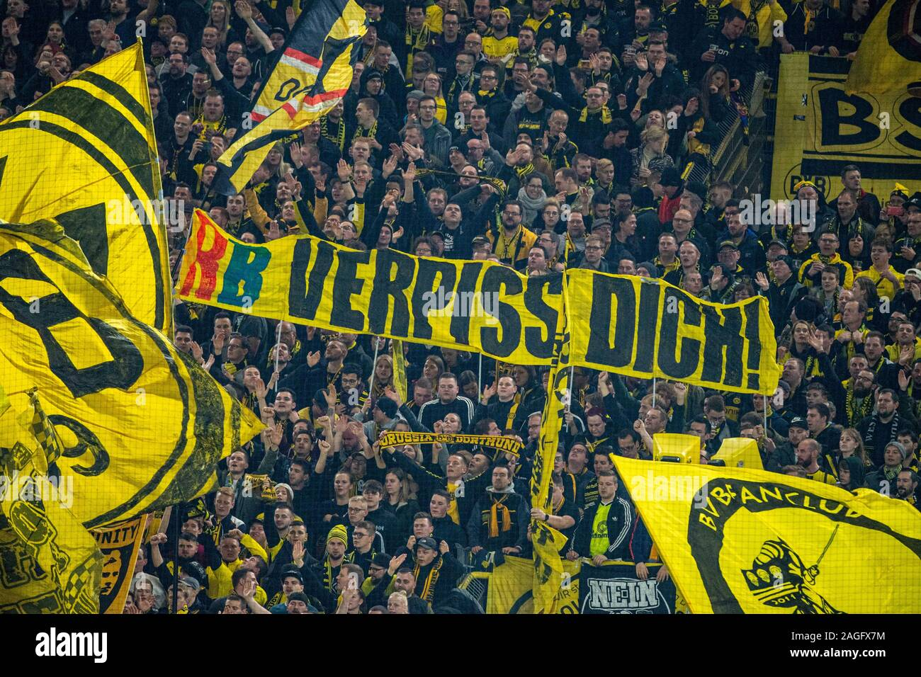 On The South Stand Fans Hold Up A Banner That Reads Rb Verpiss Dich Fan Fans