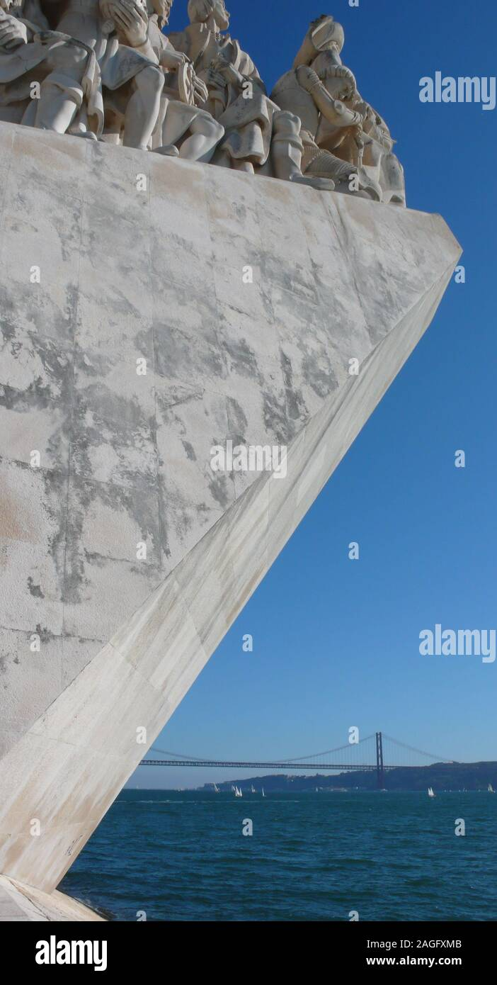 Lisbon, Portugal / 7 November 2015: view of the Monument of the Discoveries on the Tagus River in Lisbon Stock Photo