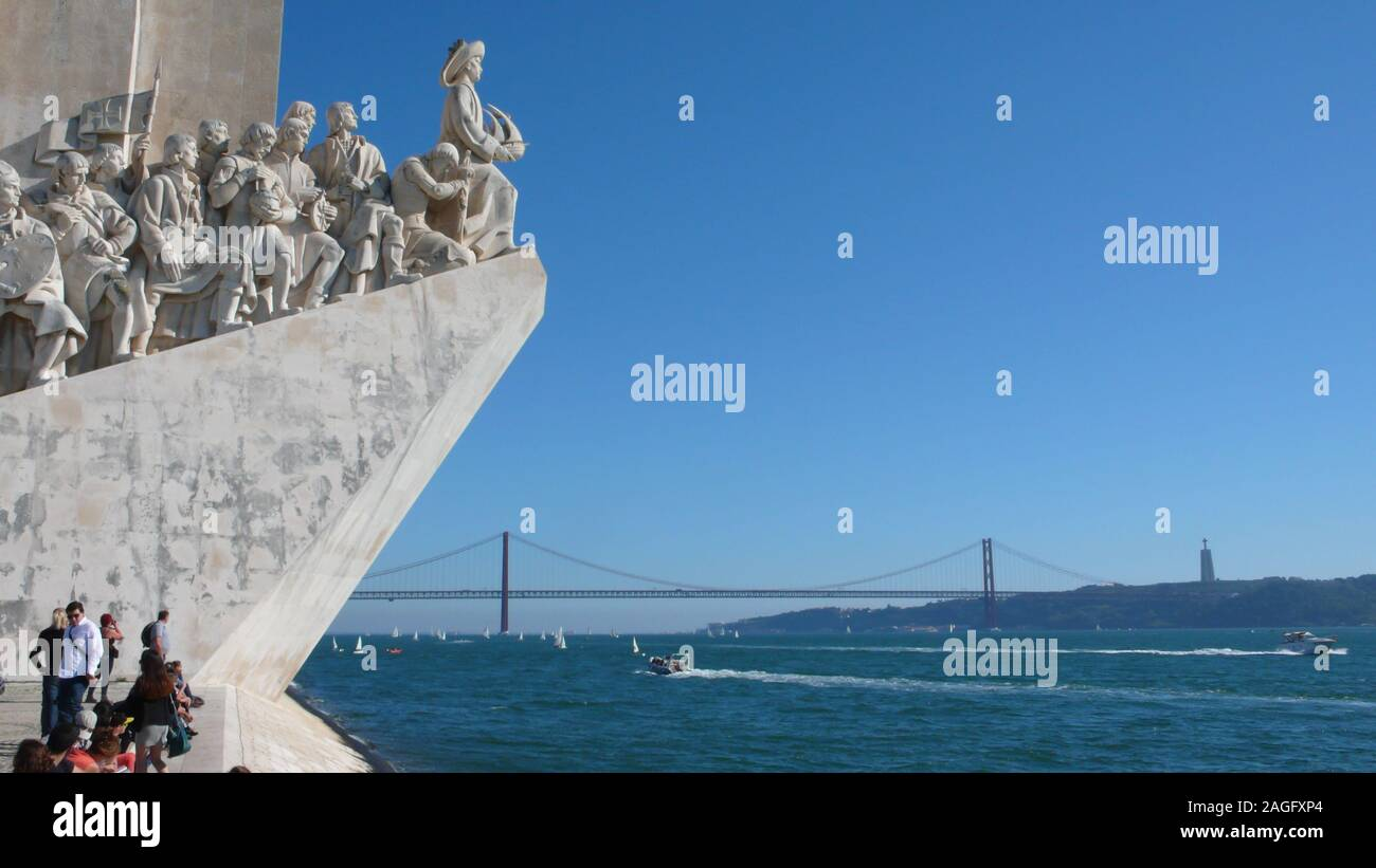 Lisbon, Portugal / 7 November 2015: many tourists enjoy a visit to the Monument of the Discoveries on the Tagus River in Lisbon Stock Photo