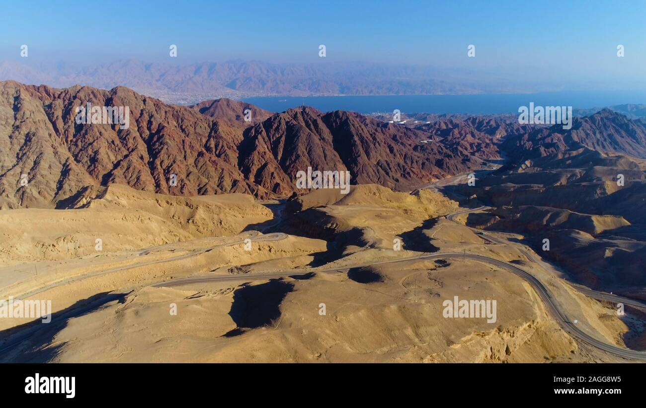 View of the Gulf of Eilat (Gulf of Aqaba) from the Eilat mountains, Israel Stock Photo