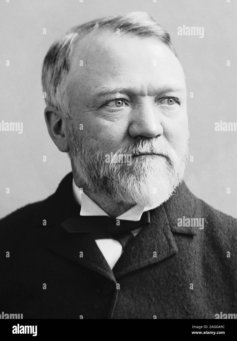 Vintage portrait photo of Scottish-American industrialist and philanthropist Andrew Carnegie (1835 – 1919). Photo circa 1880 by Brady-Handy. Stock Photo