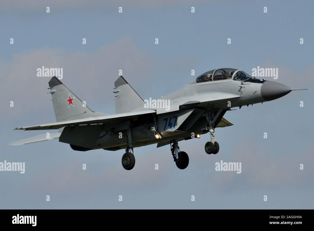 RUSSIAN AIR FORCE MIG-35UB FIGHTER AIRCRAFT. Stock Photo