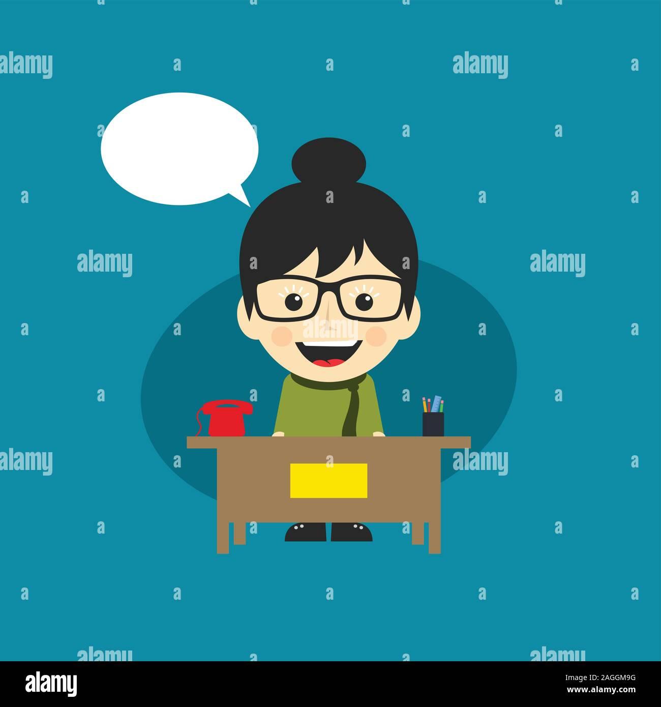 Happy Customer Service Receptionist Cartoon Character Vector Art Stock Vector Image Art Alamy