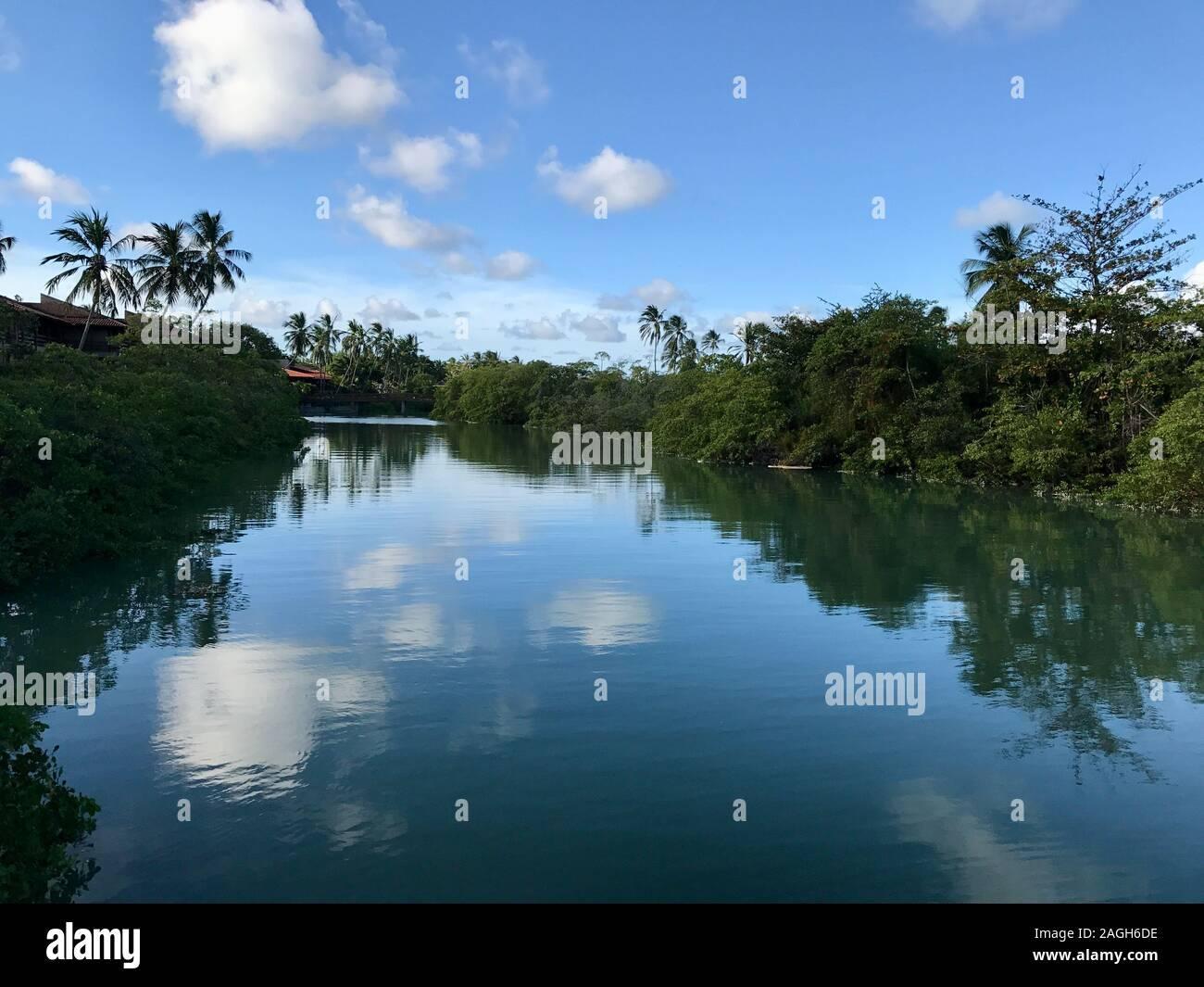Reflections in water in Maragogi Beach, Alagoas State, Brazil Stock Photo