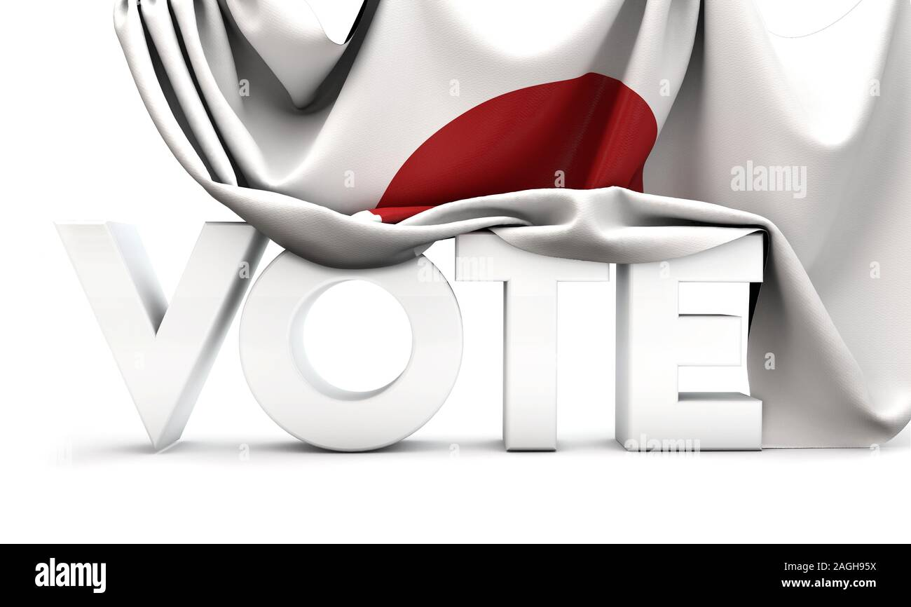 Japan vote concept. Vote word covered in national flag. 3D Render Stock Photo