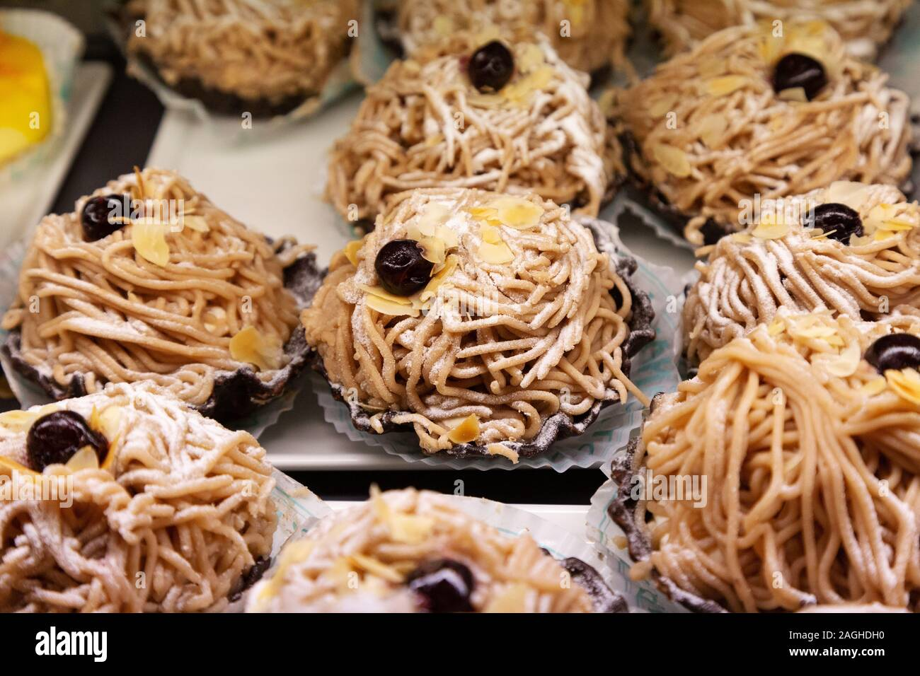 Maroni Blute - a pastry from the famous coffee shops, Vienna Austria Stock Photo