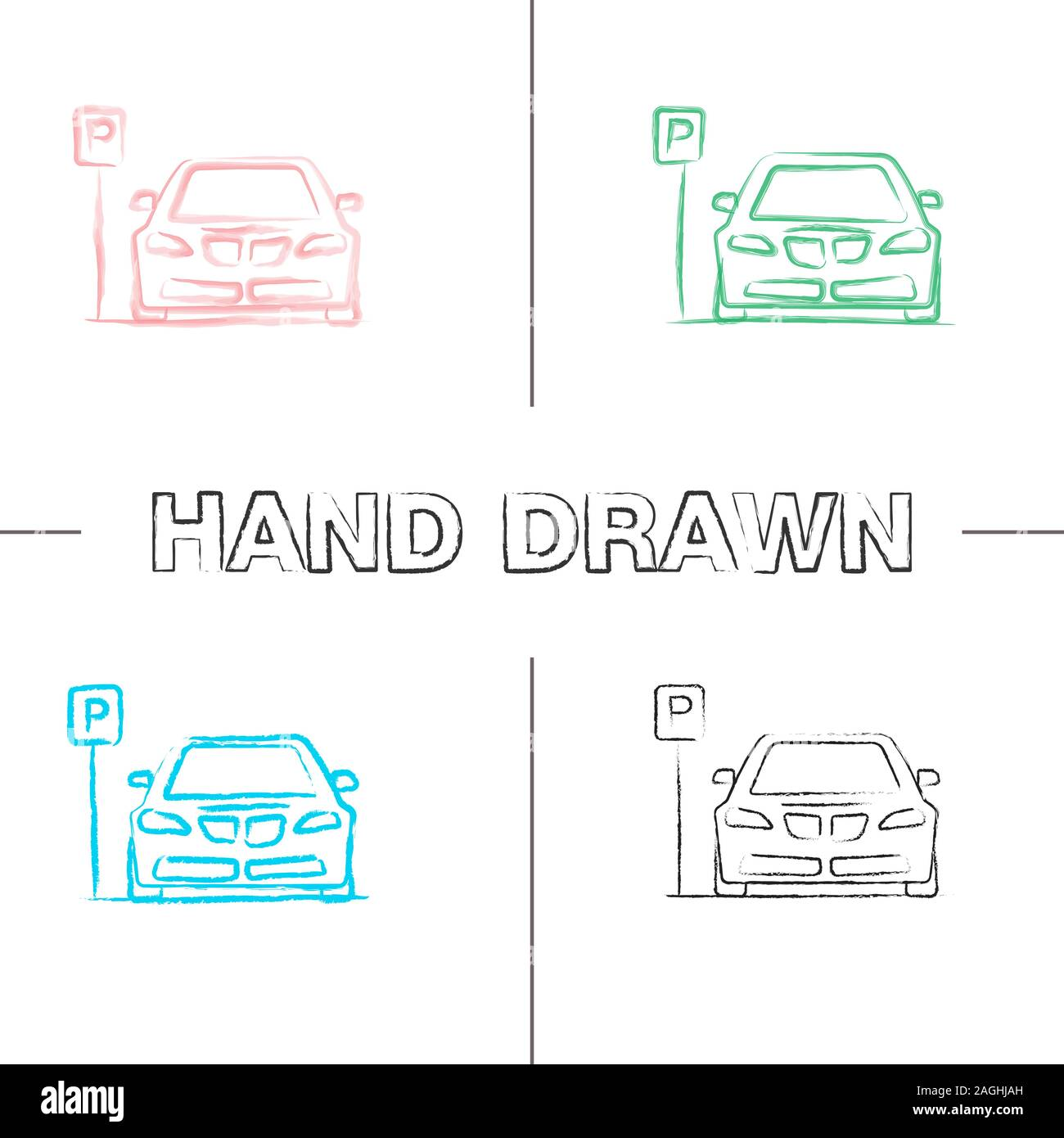 Parking zone hand drawn icons set. Car with P road sign. Color brush stroke. Isolated vector sketchy illustrations Stock Vector