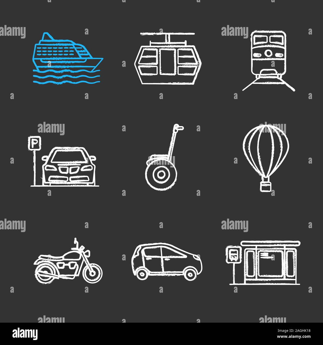 Public transport chalk icons set. Modes of transport. Cruise ship, funicular, train, parking zone, hot air balloon, motorbike, car, bus station. Isola Stock Vector