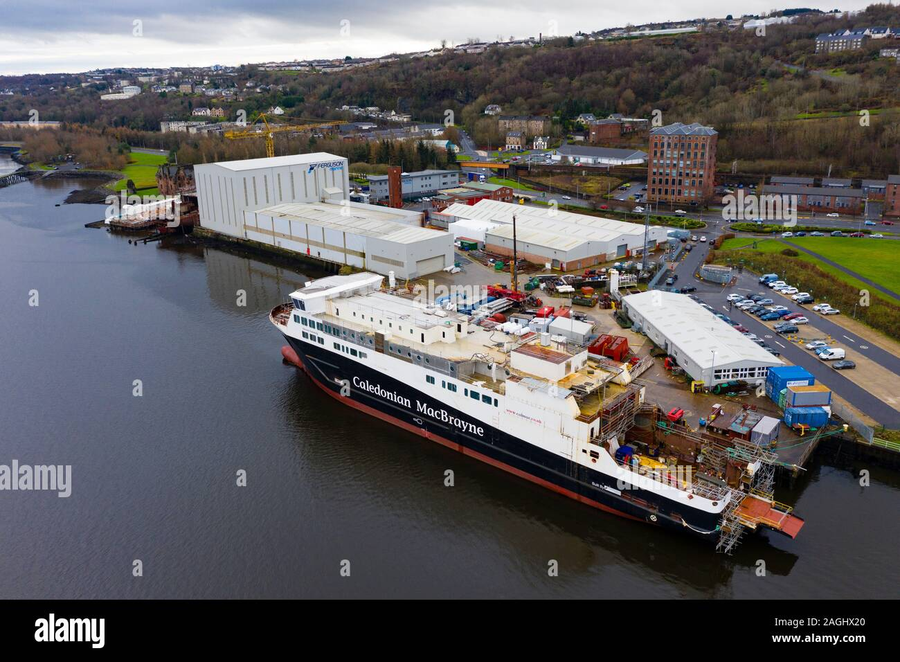 Aerial view of recently nationalised Ferguson Marine shipyard and  Calmac ferry Glen Sannox  on the Clyde at Port Glasgow, Scotland ,UK Stock Photo