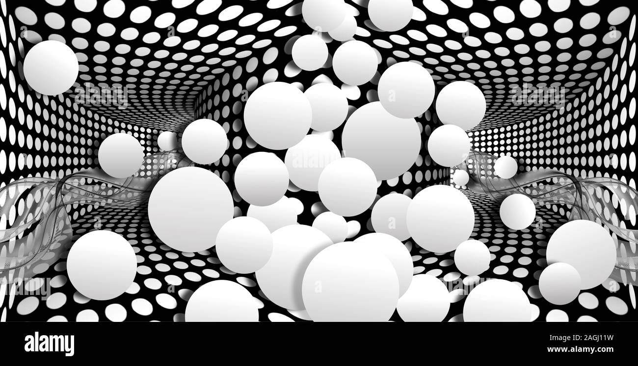 3d wallpaper white sphere on optical illusions background black and white 2AGJ11W