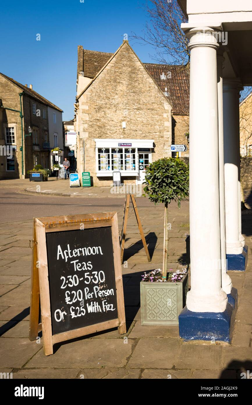 Not your normal tea shop. Sign outside the Methuen Arms hotel in Corsham Wiltshire England UK Stock Photo