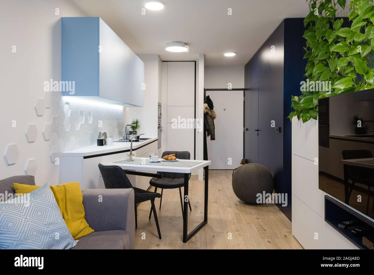 Modern interior of small apartment Stock Photo