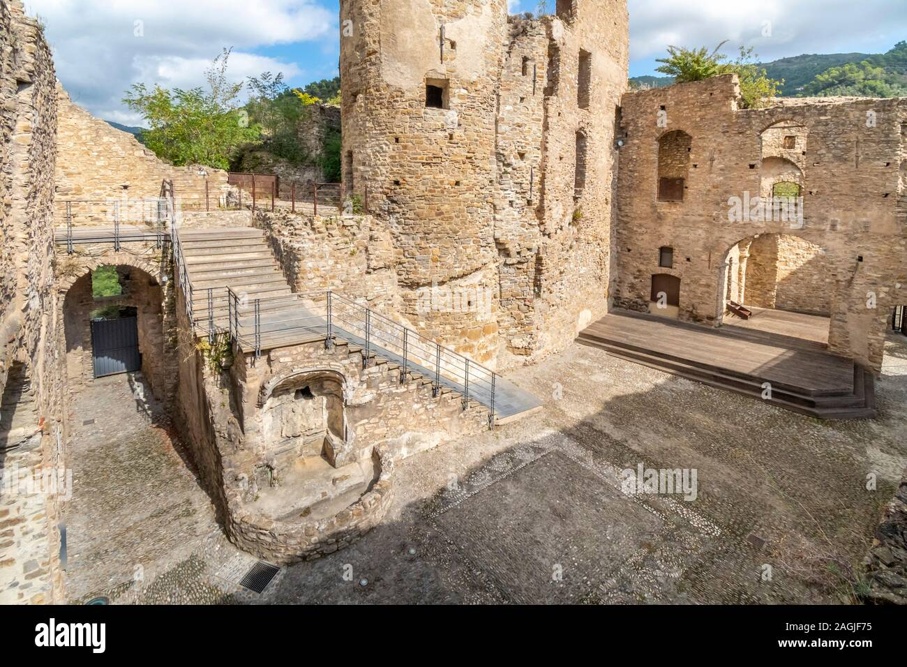 The interior of the ancient ruins of Doria castle or castrum, built in the 12th century on a mountaintop in the Ligurian village of Dolceacqua, Italy Stock Photo