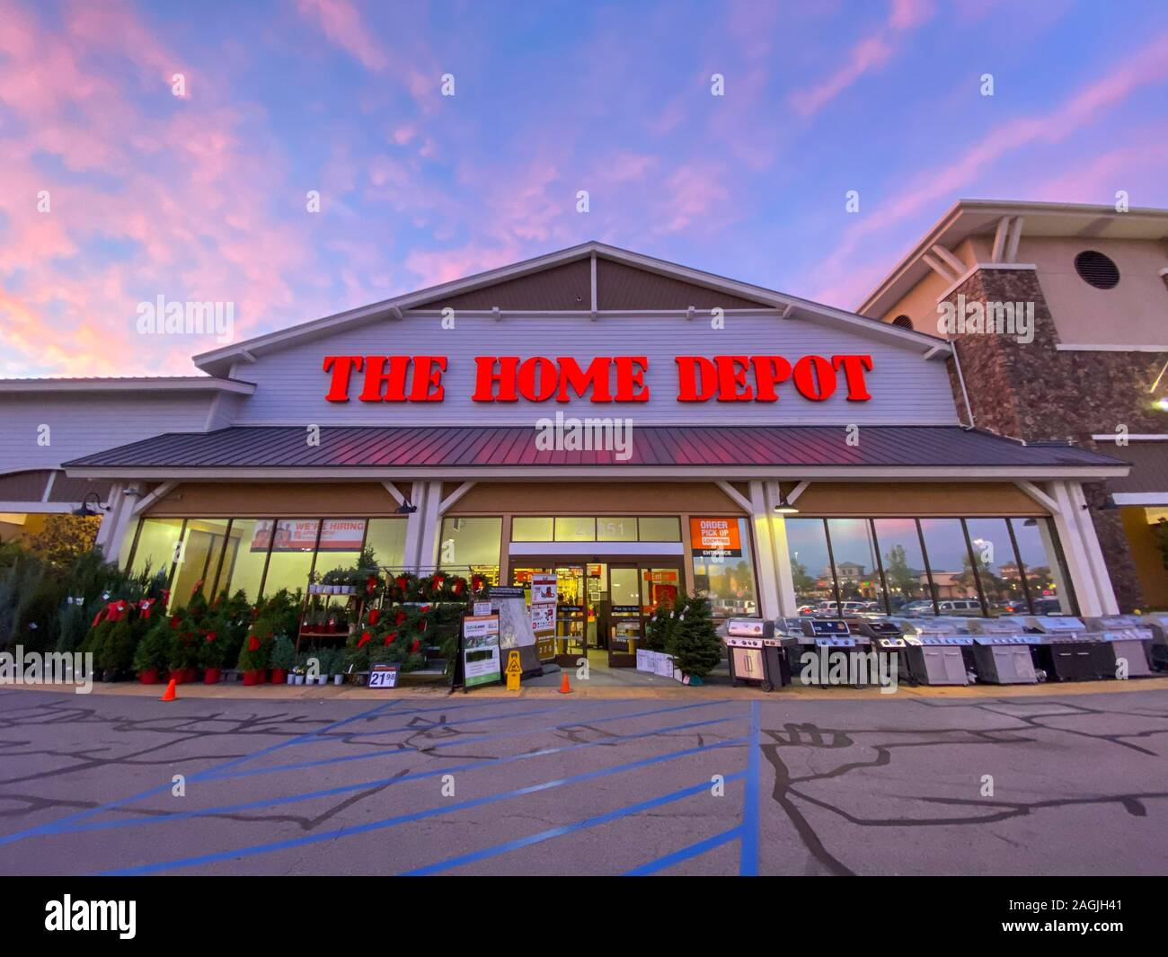 The Home Depot Store Entrance With Colorful Sunset In The