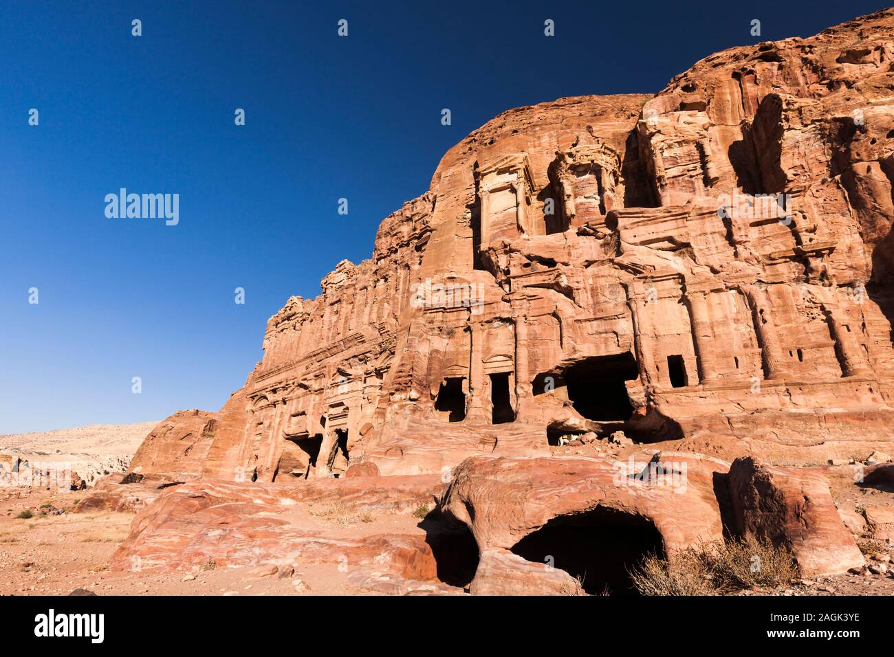 Petra, Royal Tombs in the Lost City, sculptured old architecture, Jordan, middle east, Asia Stock Photo