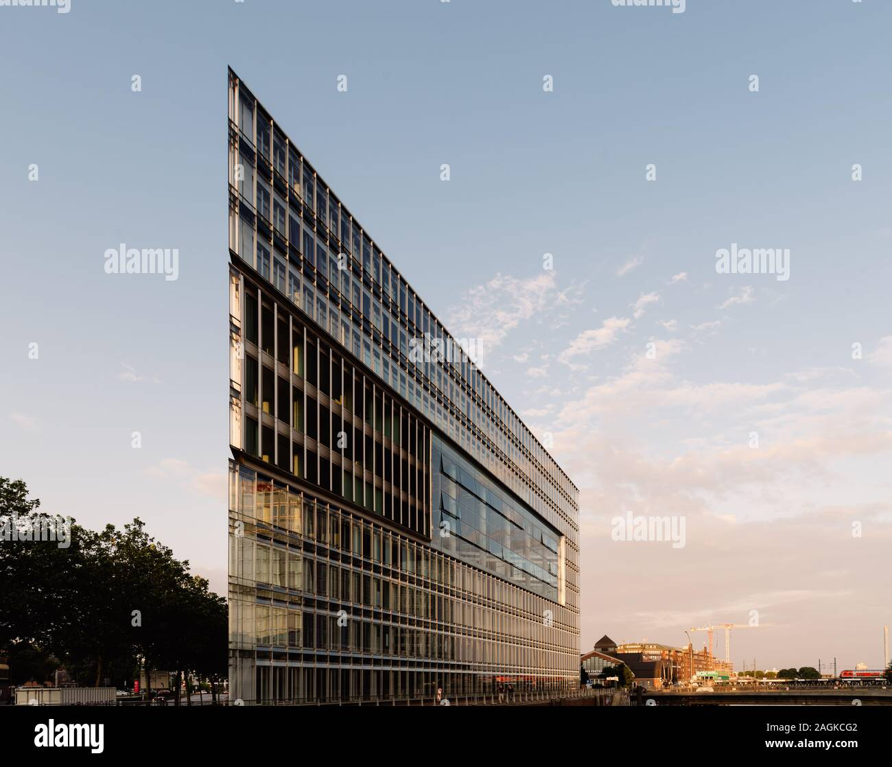 Hamburg, Germany - August 3, 2019: Deichtor Office Building in the port of Hamburg, designed by Hadi Teheran architect Stock Photo