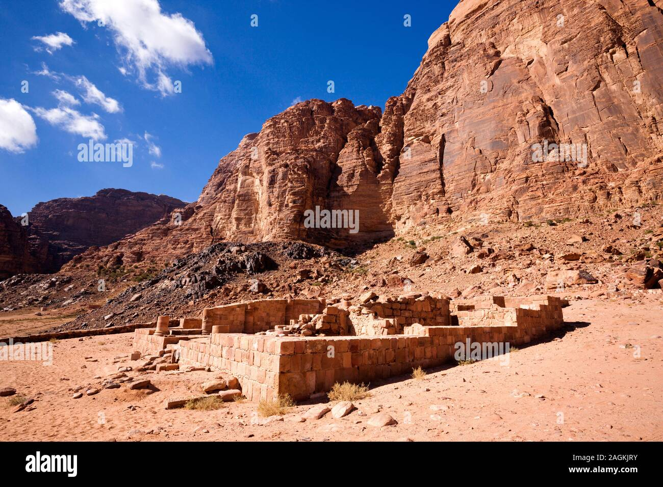 Wadi Rum, Nabataen Temple, and view of eroded rocky moutains, Jordan, middle east, Asia Stock Photo