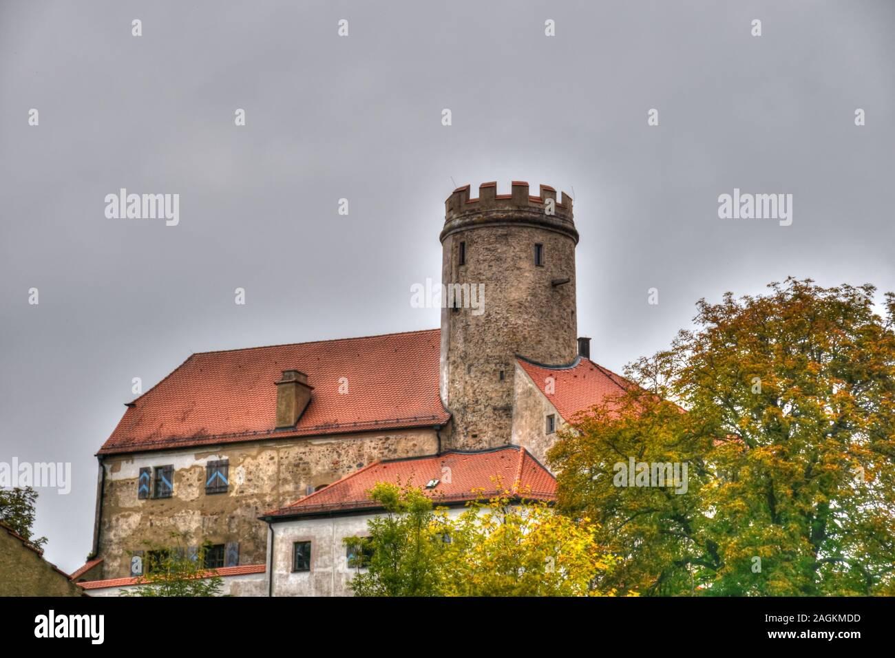 Thierlstein, Schloss, Burg Lichtenstein, Burg, Bergfried, Quarzfelsen, Pfahl, Schloss Thierlstein, Cham, Oberpfalz, Pfalz, Landkreis, Bayern, Turm, Bu Stock Photo
