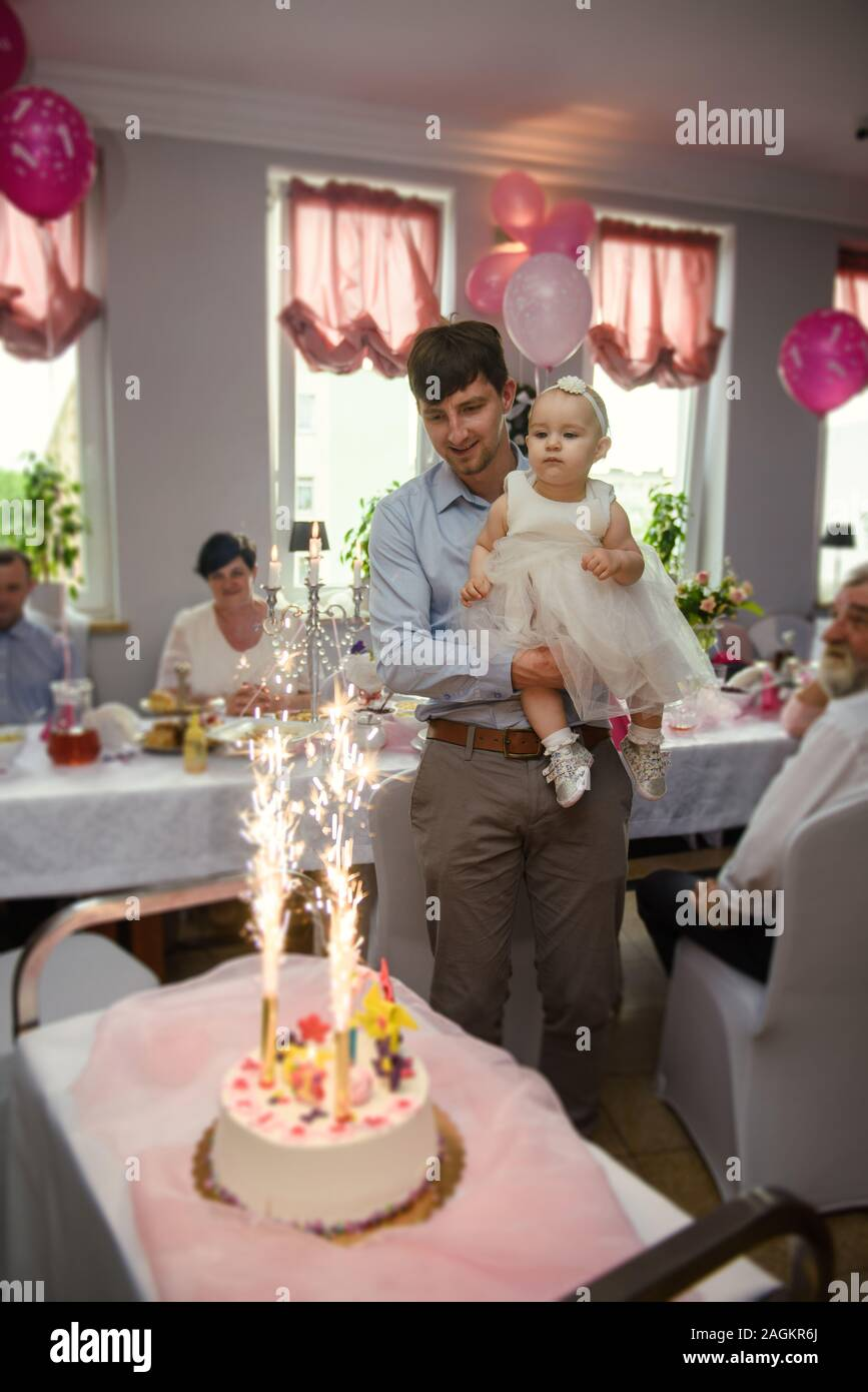 Pleasing Baby Girl 1 Year Old Eating Birthday Cake In Room Birthday Party Funny Birthday Cards Online Alyptdamsfinfo