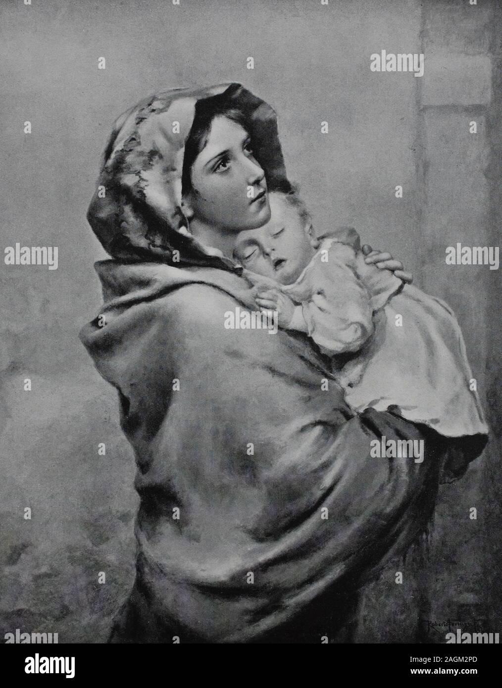 young woman with a baby on her arm, original print from the year 1899, junge Frau mit einem Baby auf ihrem Arm, Reproduktion einer Originalvorlage aus dem 19. Jahrhundert, digital verbessert Stock Photo