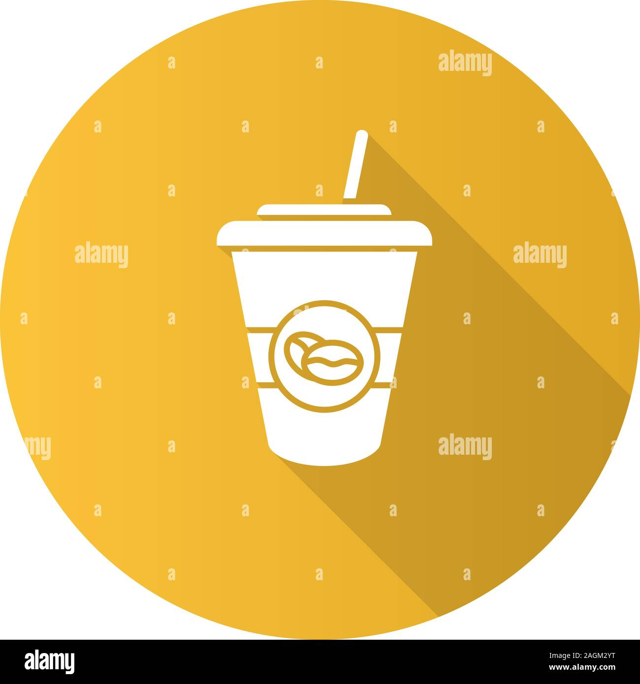 Iced Coffee Drink Flat Design Long Shadow Glyph Icon Disposable Coffee Cup With Straw Vector Silhouette Illustration Stock Vector Image Art Alamy