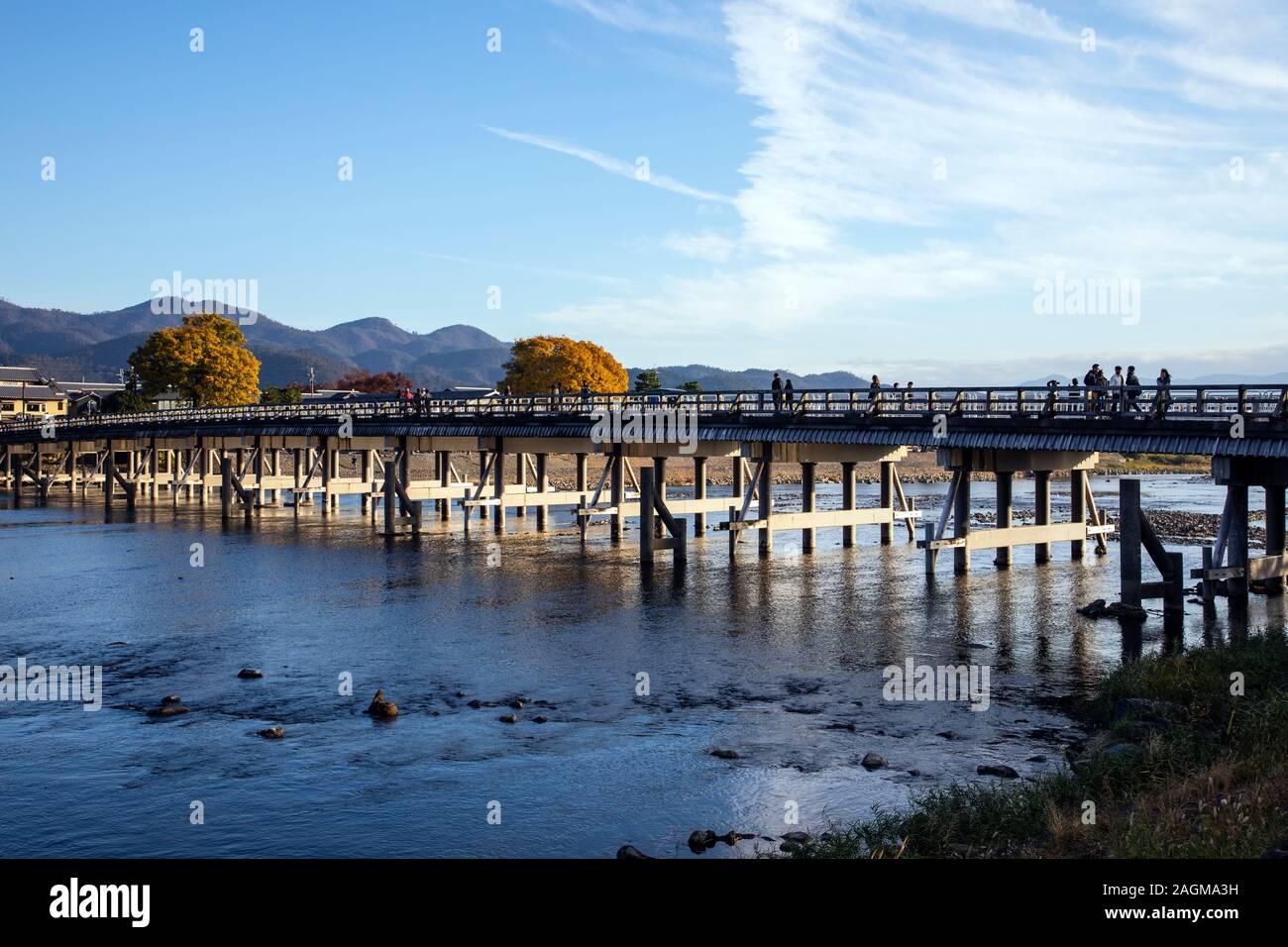KYOTO, JAPAN -23th  November 2019: Arashiyama is an area in western Kyoto centered around the Katsura River and surrounding mountains Stock Photo