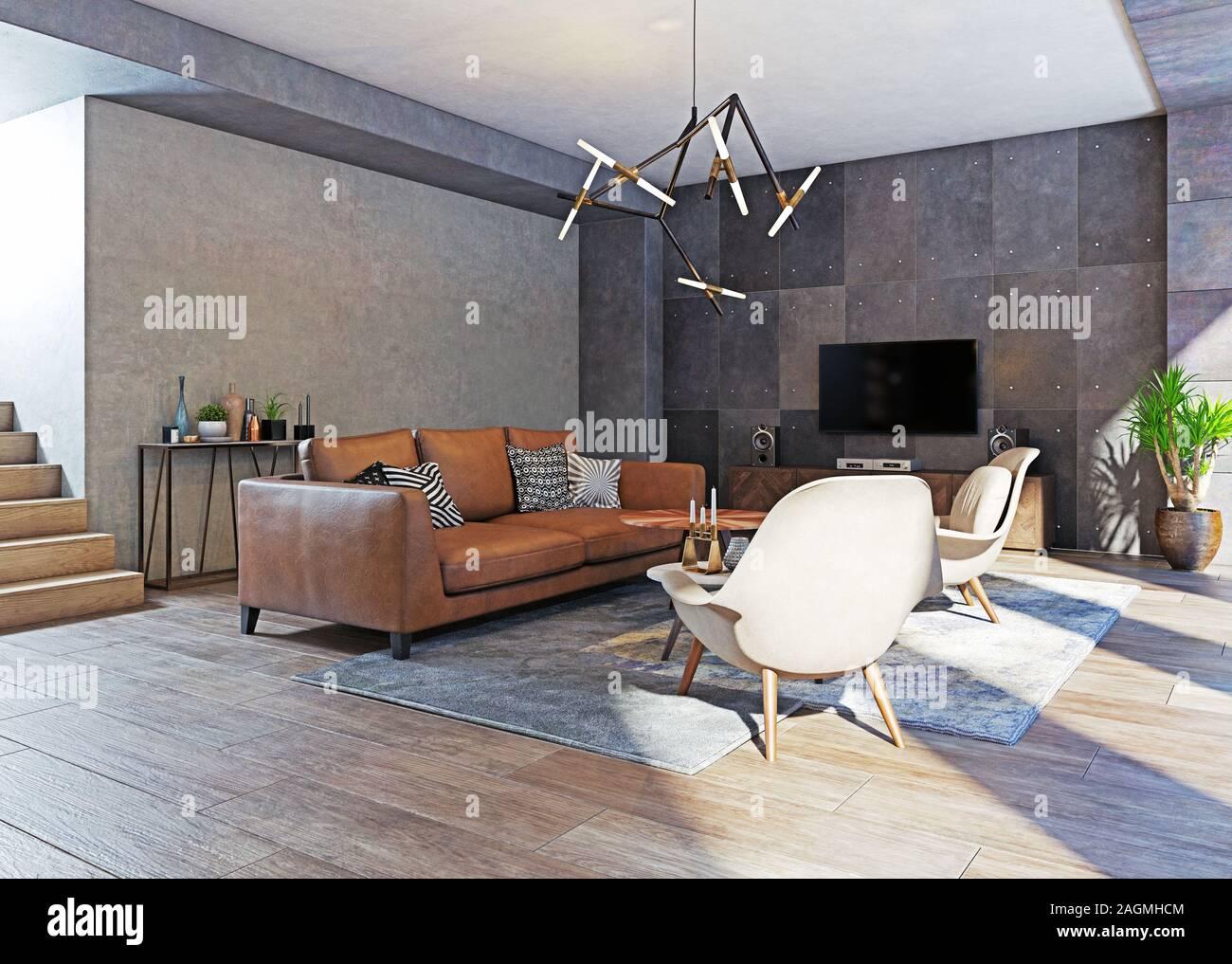modern living room of an apartment interior. 13d rendering design