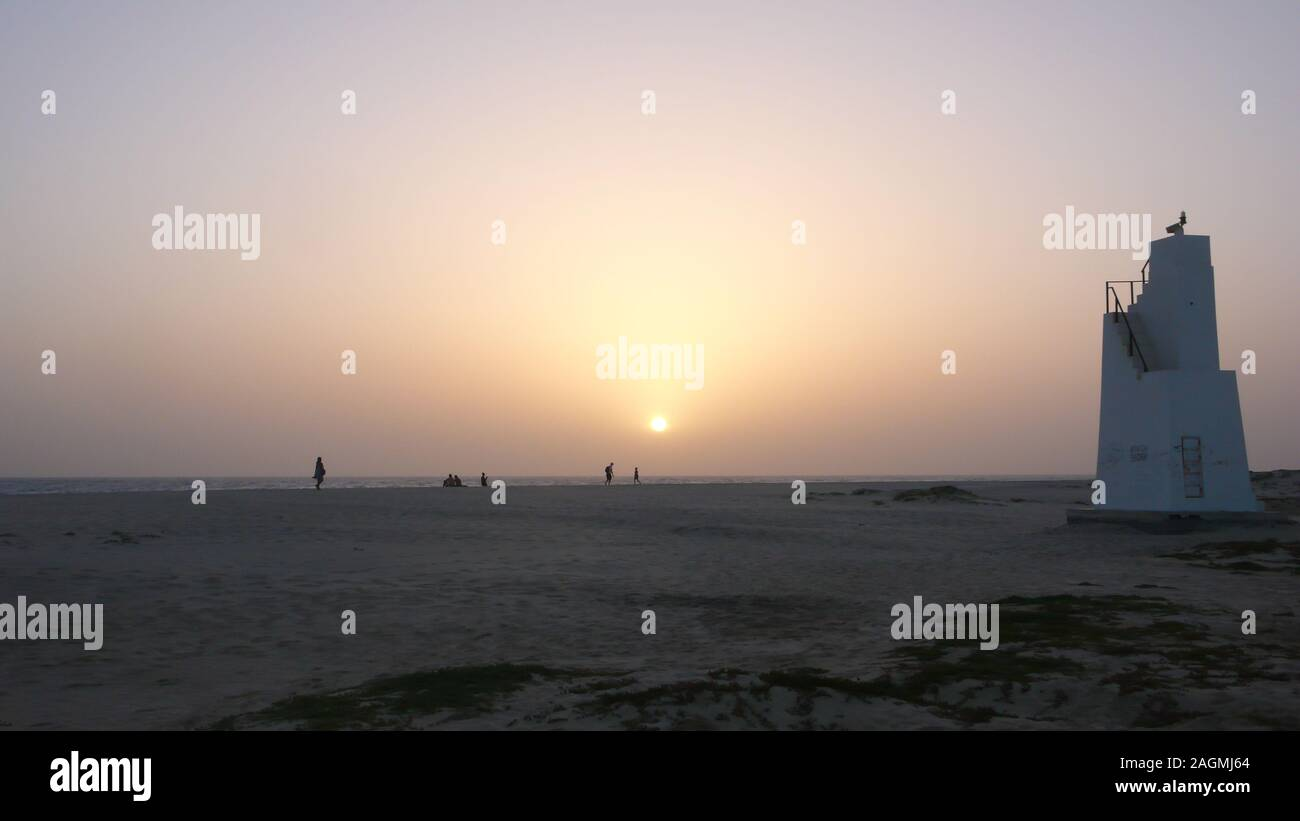 Scenic view point tower on the beach at sunset on Sal Island in Cape Verde Stock Photo